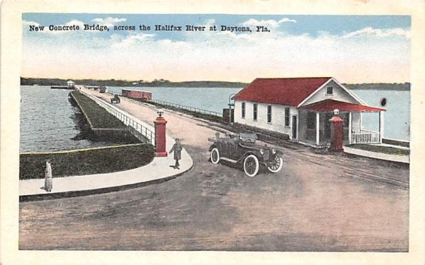 New Concrete Bridge, across the Halifax River Daytona, Florida Postcard