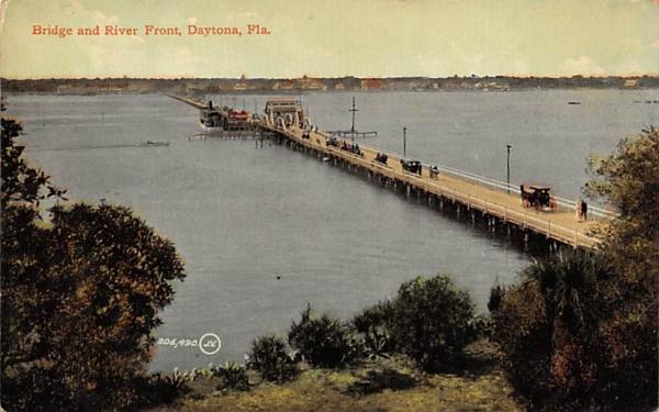 Bridge and River Front Daytona, Florida Postcard