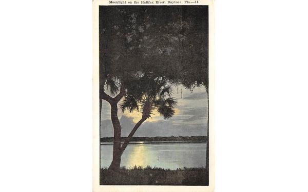 Moonlight on the Halifax River Daytona, Florida Postcard