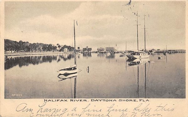 Halifax River Daytona Beach Shores, Florida Postcard