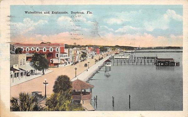 Waterfront and Esplanade Daytona, Florida Postcard