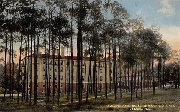 College Arms Hotel, Through The Pines De Land, Florida Postcard