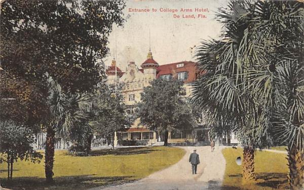 Entrance to College Arms Hotels De Land, Florida Postcard