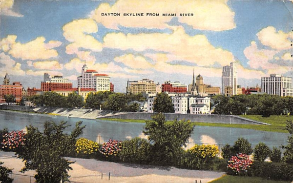 Daytona Skyline from Miami River, USA Florida Postcard