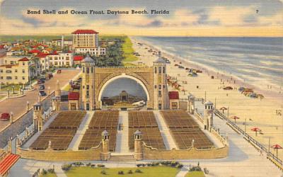 Band Shell and Ocean Front Daytona Beach, Florida Postcard