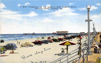 A Busy Afternoon on the World's most Famous Beach Daytona Beach, Florida Postcard