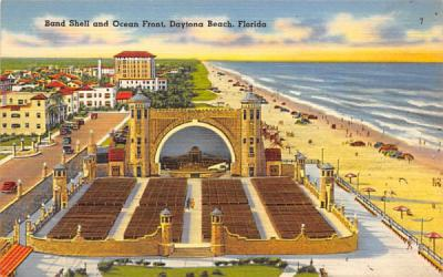 Band Shell and Coean Front Daytona Beach, Florida Postcard