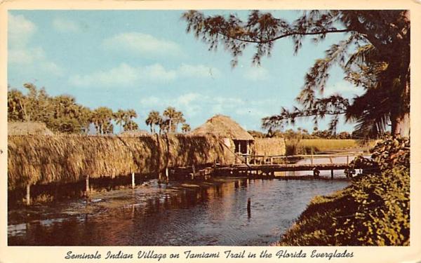 Seminole Indian Village Everglades, Florida Postcard