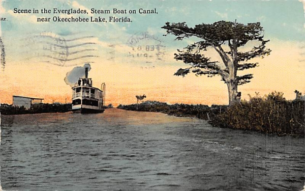 Everglades, Steam Boat on Canal Florida Postcard
