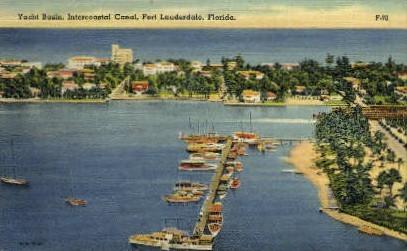 Yacht Basin - Fort Lauderdale, Florida FL Postcard