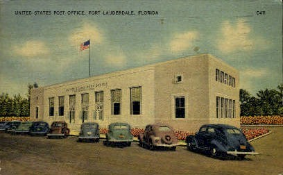 Post Office - Fort Lauderdale, Florida FL Postcard