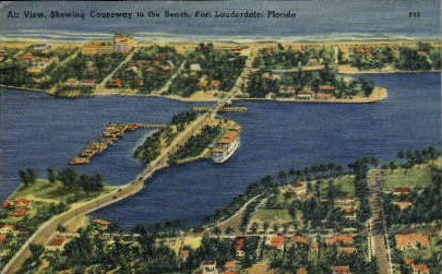 Causeway Bridge - Fort Lauderdale, Florida FL Postcard