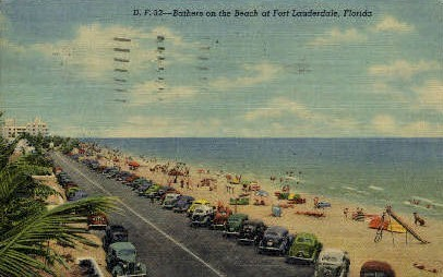 Bathers on the Beach - Fort Lauderdale, Florida FL Postcard
