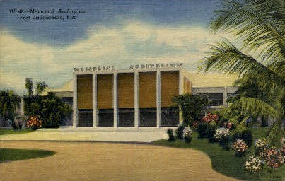 Memorial Auditorium - Fort Lauderdale, Florida FL Postcard