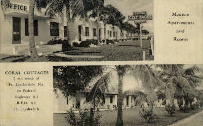 Coral Cottages - Fort Lauderdale, Florida FL Postcard