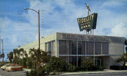 Fidelity National Bank - Fort Lauderdale, Florida FL Postcard