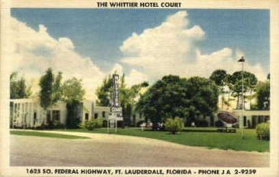 Whittier Motel - Fort Lauderdale, Florida FL Postcard