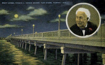 Bridge of Thomas Edison - Fort Myers, Florida FL Postcard