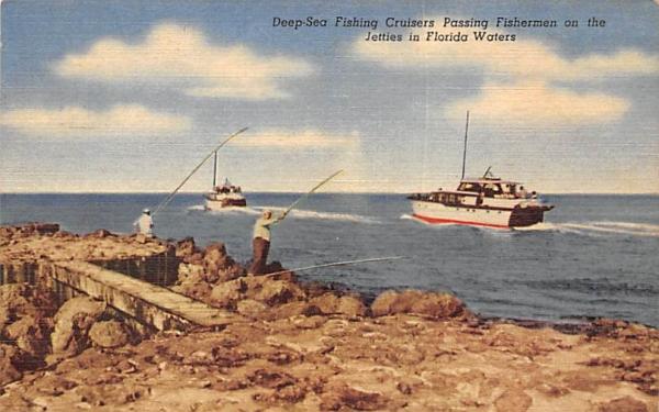 Deep-Sea Fishing Cruisers Jetties in Florida Waters, USA Postcard