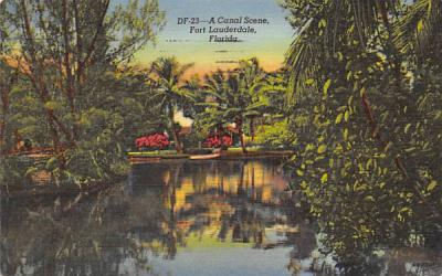 A Canal Scene Fort Lauderdale, Florida Postcard