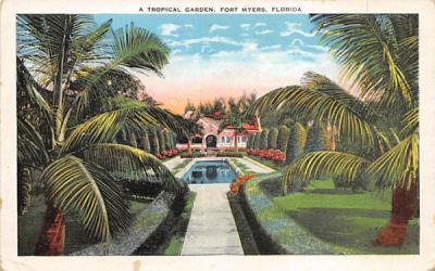 A Tropical Garden Fort Myers, Florida Postcard