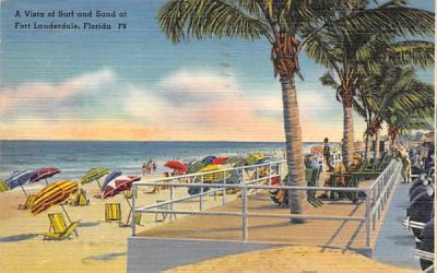 A Vista of Surf and Sand Fort Lauderdale, Florida Postcard
