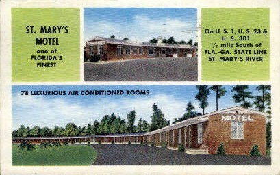 St. Mary's Motel - Hilliard, Florida FL Postcard