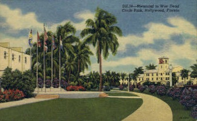 War Memorial - Hollywood, Florida FL Postcard