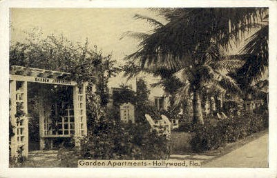 Garden Apartments - Hollywood, Florida FL Postcard