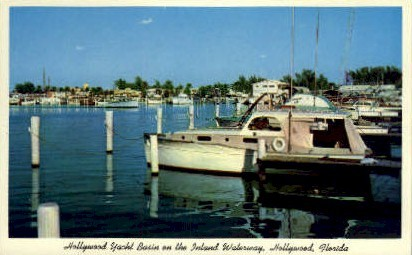 Yacht Harbor - Hollywood, Florida FL Postcard