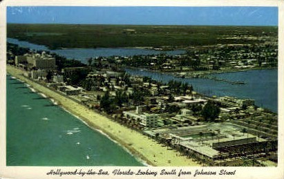 Johnson Street - Hollywood, Florida FL Postcard