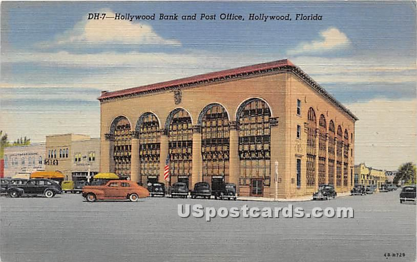 Hollywood Bank & Post Office - Florida FL Postcard