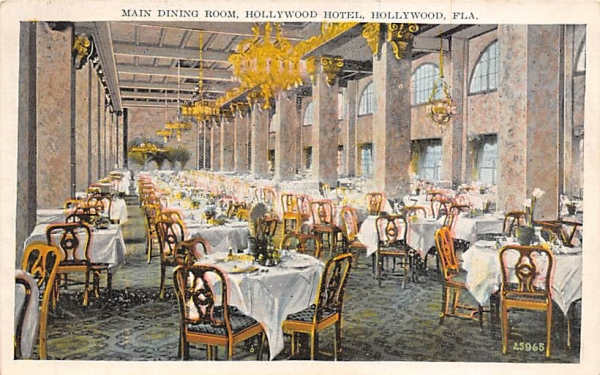 Main Dining Room, Hollywood Hotel Florida Postcard