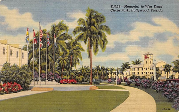 Memorial to War Dead, Circle Park Hollywood, Florida Postcard