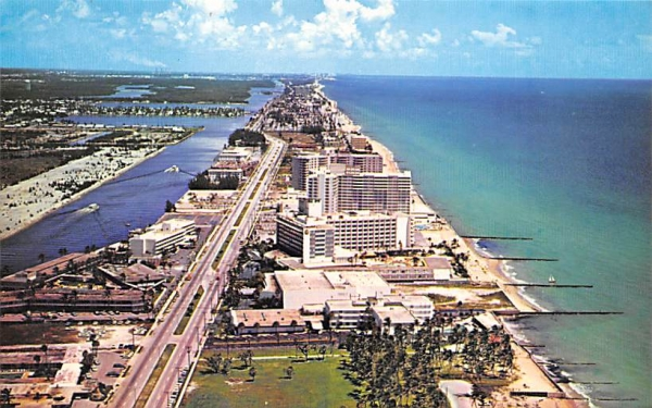 Inland Waterway and the Atlantic Ocean Hollywood, Florida Postcard