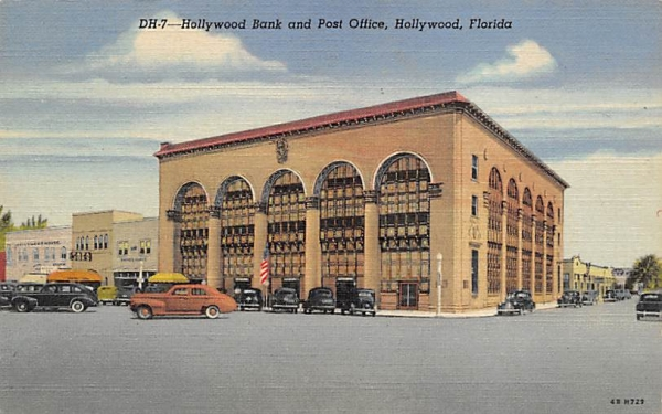 Hollywood Bank and Post Office Florida Postcard