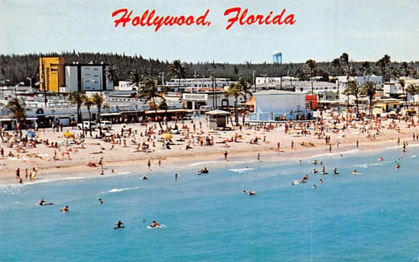 Looking West on Hollywood Beach Florida Postcard
