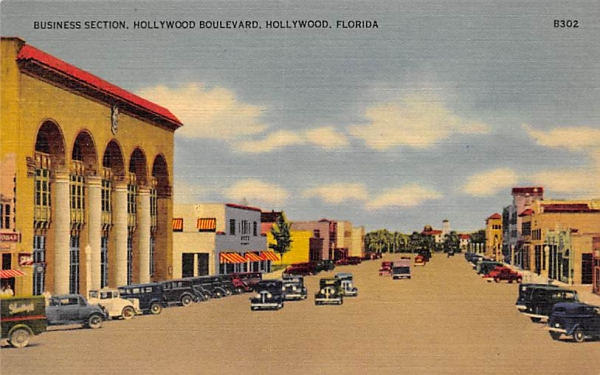 Business Section, Hollywood Boulevard Florida Postcard