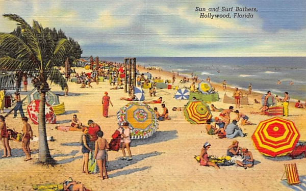 Sun and Surf Bathers Hollywood, Florida Postcard