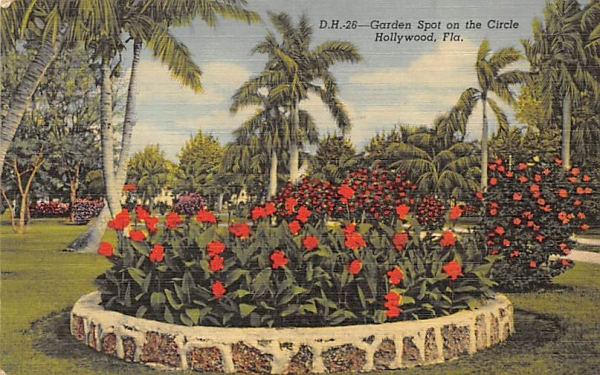 Garden Spot on the Circle Hollywood, Florida Postcard