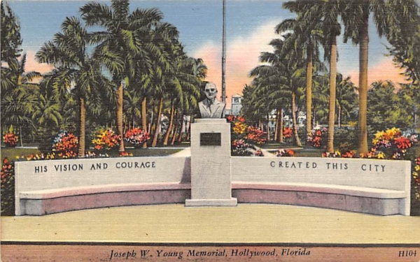 Joseph W. Young Memoria Hollywood, Florida Postcard