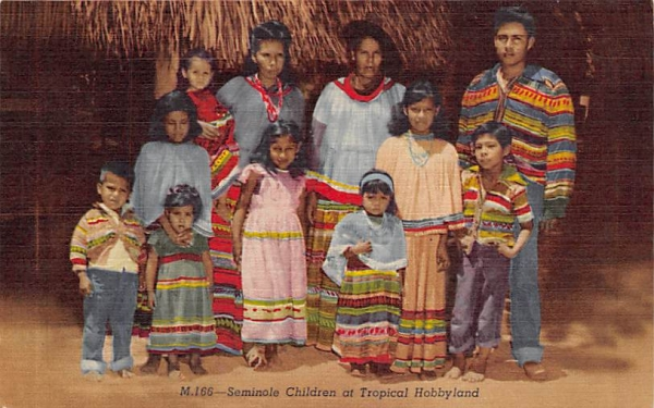 Seminole Children at Tropical Hollywood, FL, USA Florida Postcard