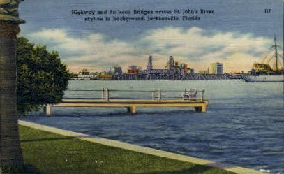 St. John's River - Jacksonville, Florida FL Postcard