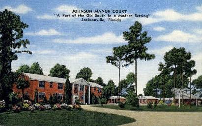 Johnson Manor Court - Jacksonville, Florida FL Postcard
