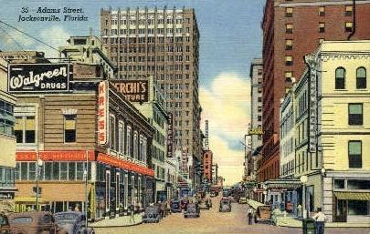 Adams Street - Jacksonville, Florida FL Postcard