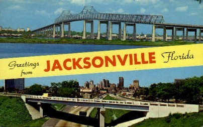 John E. Mathews Bridge - Jacksonville, Florida FL Postcard