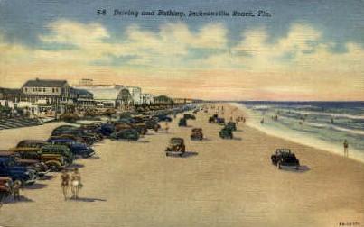 Driving and Bathing - Jacksonville, Florida FL Postcard