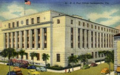 Post Office - Jacksonville, Florida FL Postcard