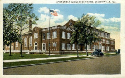Springfield Junior High School - Jacksonville, Florida FL Postcard