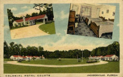 Colonial Hotel Courts - Jacksonville, Florida FL Postcard